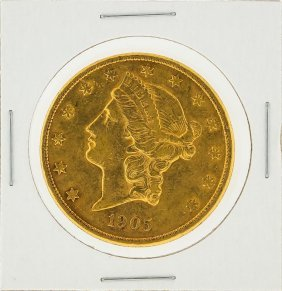 1905-s $20 Liberty Head Double Eagle Gold Coin Xf