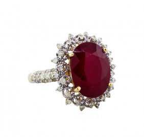 14kt Yellow Gold 9.73ct Ruby And Diamond Ring