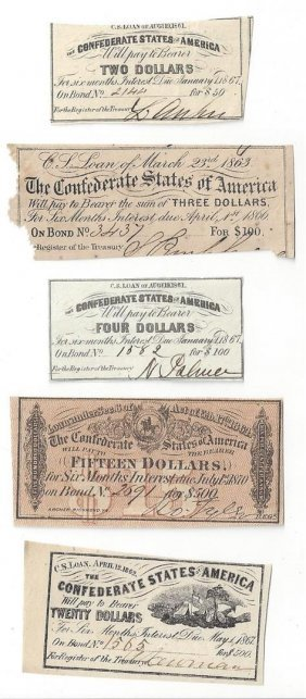 Lot Of (5) Assorted Confederate Csa Bonds