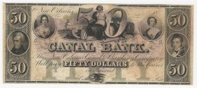 1800s $50 Canal Bank New Orleans Obsolete Note