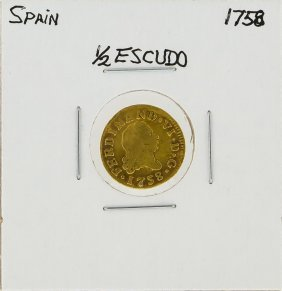 Spain 1758 1/2 Escudo Gold Coin