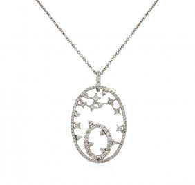 18kt White Gold 1.08ctw Diamond Pendant With Chain