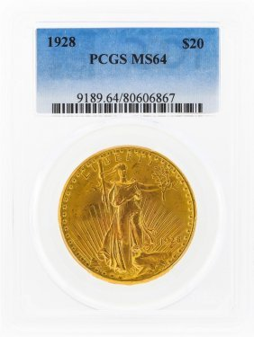 1928 $20 St. Gaudens Double Eagle Gold Coin Pcgs Ms64