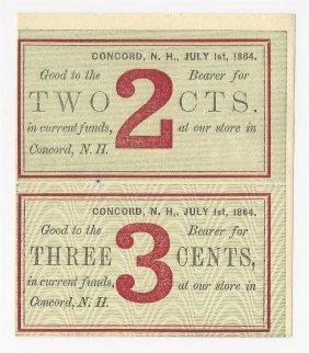 July 1, 1864 2 & 3 Cents Uncut Fractional Notes