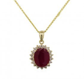 14kt Yellow Gold 7.61ct Ruby And Diamond Pendant With