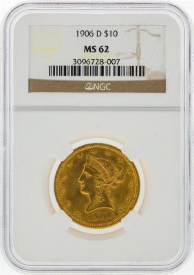 1906-d $10 Liberty Head Eagle Gold Coin Ngc Graded Ms62