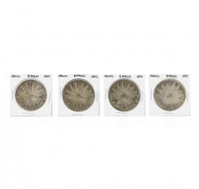 Set Of (4) 8 Reales Mexico Silver Coins 1890, 1892,