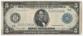 Large 1914 $5 Federal Reserve Note