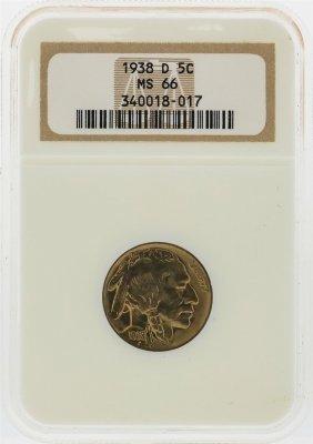 1938-d Buffalo Nickel Coin Ngc Graded Ms66