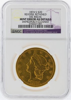 1874-s $20 Liberty Head Double Eagle Gold Coin Mint