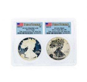 Set Of 2012-s $1 American Silver Eagles Pcgs Pr69dcam &