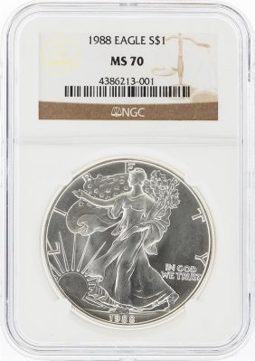 1988 $1 American Silver Eagle Coin Ngc Graded Ms70