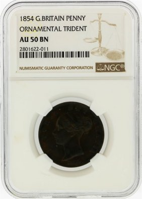 1854 G.britain Penny Ornamental Trident Coin Ngc Graded