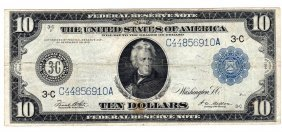 1914 $10 Blue Seal Large Federal Reserve Bank Note