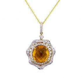 14kt Yellow Gold 7.56ct Citrine And Diamond Pendant