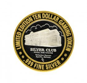 Silver Club $10 Casino Gaming Token .999 Silver Limited