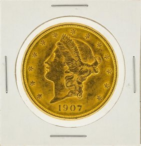 1907 $20 Liberty Head Double Eagle Gold Coin