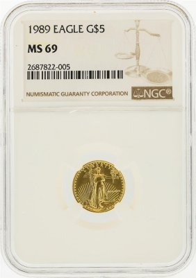 1989 $5 American Gold Eagle Coin Ngc Graded Ms69