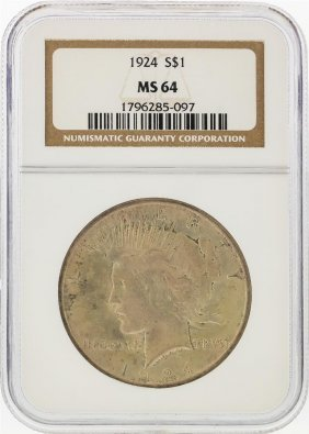 1924 $1 Peace Silver Dollar Ngc Graded Ms64