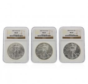 2002-2004 $1 American Silver Eagle Coin Set Ngc Ms69