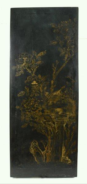 Qianlong Quails & Chrysanthemums Lacquered Wood Panel
