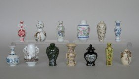 13 Miniature Japanese Vases