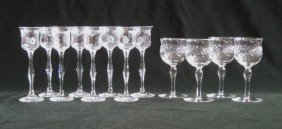 Set Of 8 Etched Glass Liquor Glasses