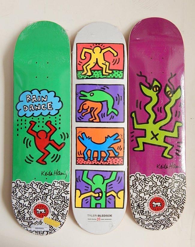 After Keith Haring 3 Skateboard Decks Lot 251