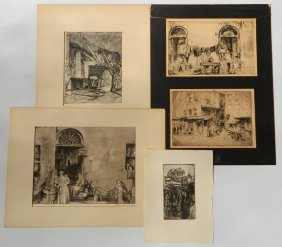 Earl Horter 1 Aquatint And 4 Etchings