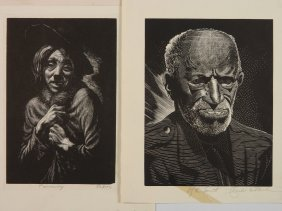 Mac Raboy; Charles Pont - 2 Wood Engravings