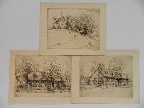 Ernest D. Roth 3 Etchings