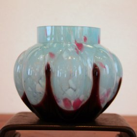 Blue Czech Glass Vase