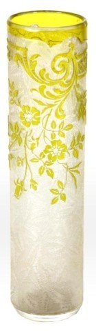 Acid Etched Yellow Vase Signed Daum Nancy
