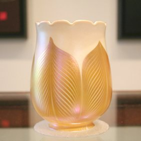 Quezal Aurene Pulled Feather Art Glass Tulip Shade