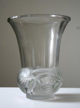 R. Lalique French Crystal \'lierre\' Vase Circa 1930
