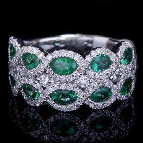 18k Gold Fashion Ring W/ 1.45ct. Emerald & 0.93ct.