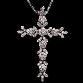 18k Gold Cross Pendant With 2.48ct. White Dia