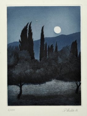 Rudolph Distler, Landschaft Im Mondschein, 1982