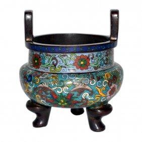 A Bronze And Cloisonné Enamel Tripod Censer