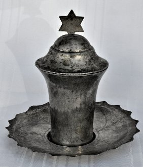 Iraqi Solid Silver Kiddush Cup With Plate Signed, 1920.