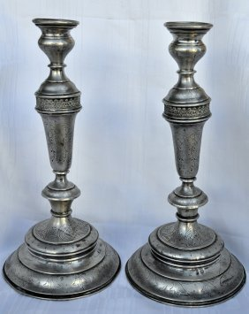 Austro-hungarian Silver Shabbat Candlesticks 1880