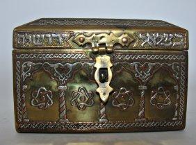 Bezalel Bride Box Wood Covered -copper, Silver 1920th,