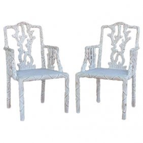 Faux Bois Carved & Painted Armchairs