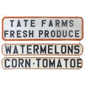 Vintage Hand Painted Farm Advertising Sign, 3pcs.