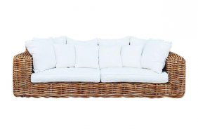 Ralph Lauren Style Large Wicker Rattan Sofa