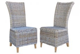 Rattan Wicker High-back Dining Chairs Set Of 6