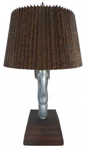 Chapman Ram's Head Table Lamp With Reptile Shade