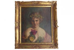 Antique Oil Painting Of A Girl With Rose