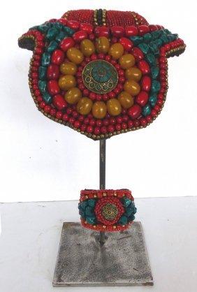 Tibetan Collar & Cuff W/ Beadwork On Stand