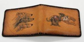 Missouri Prison Made Folk Art Greyhound Leather Wallet
